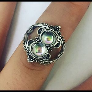 Jewelry - Statement Silver BOHO Rhinestone Orbit Ring